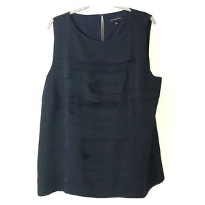 Sleeveless navy work blouse